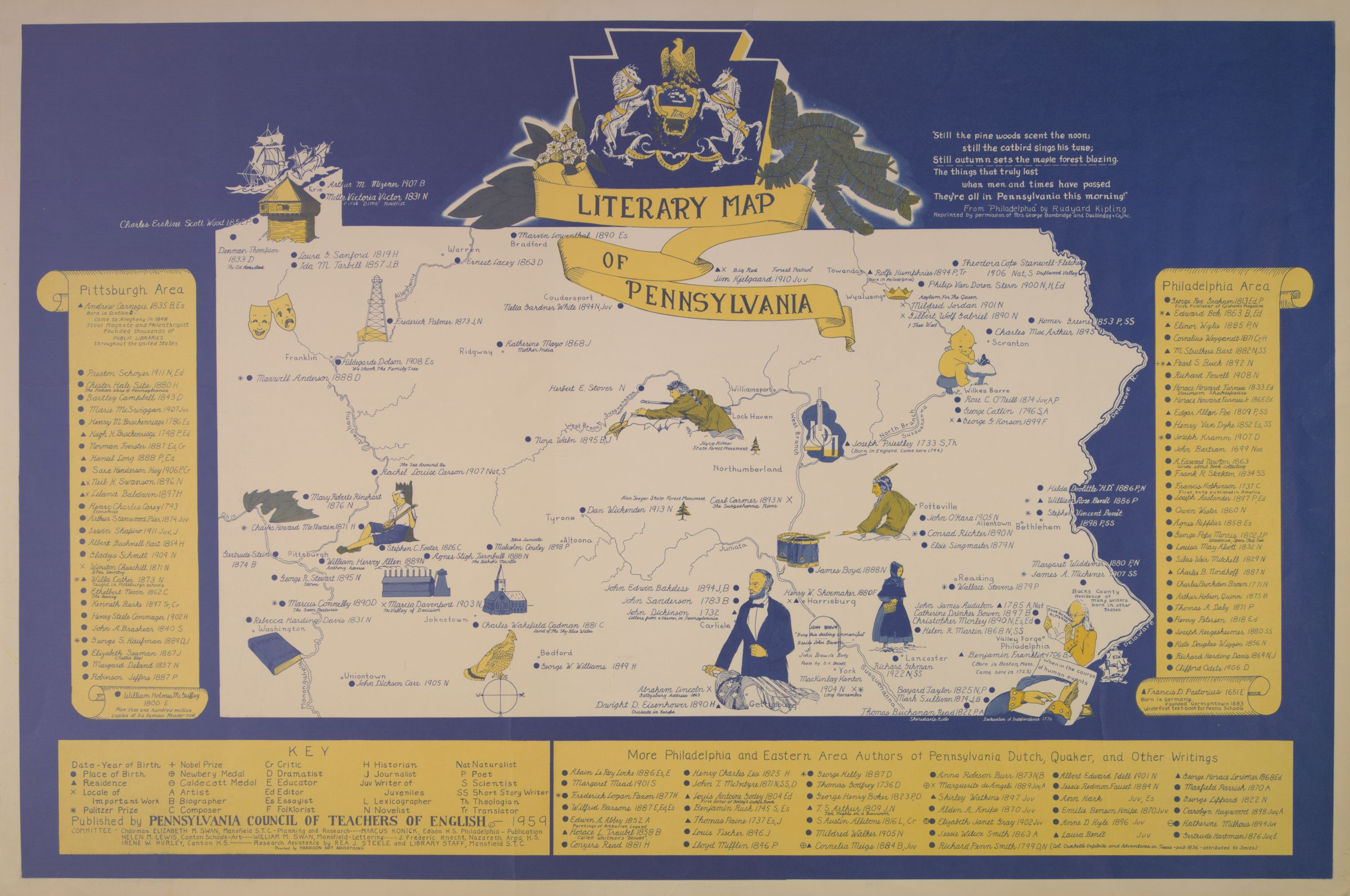Literary Map of PA from 1959