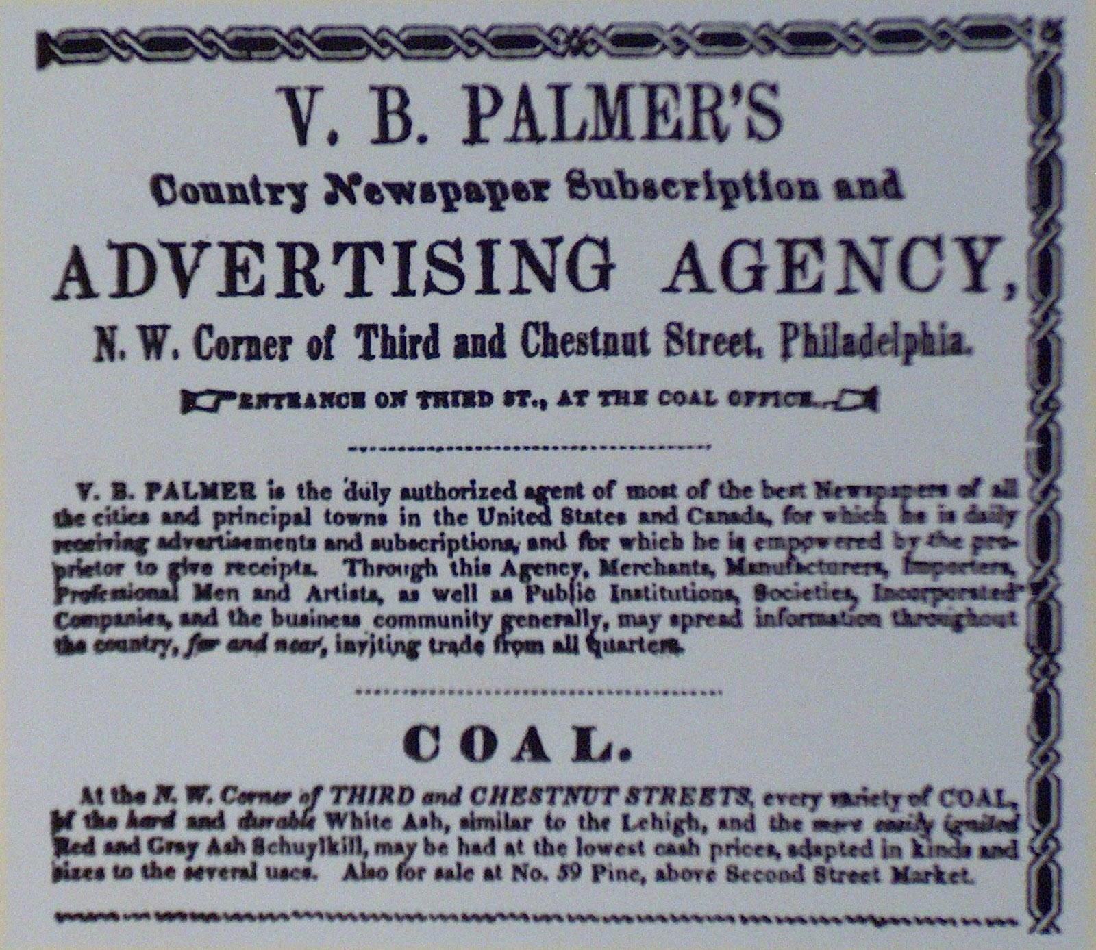 An Ad for Palmer's Ad Agency