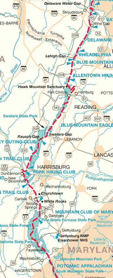 Map of the Appalachian Trail in PA