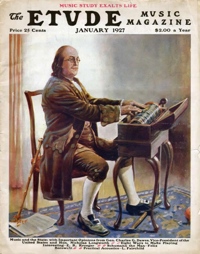 Benjamin Franklin playing the Glass Armonica