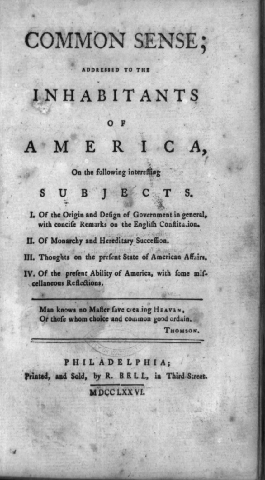 Title Page of Thomas Paine's essay Common Sense