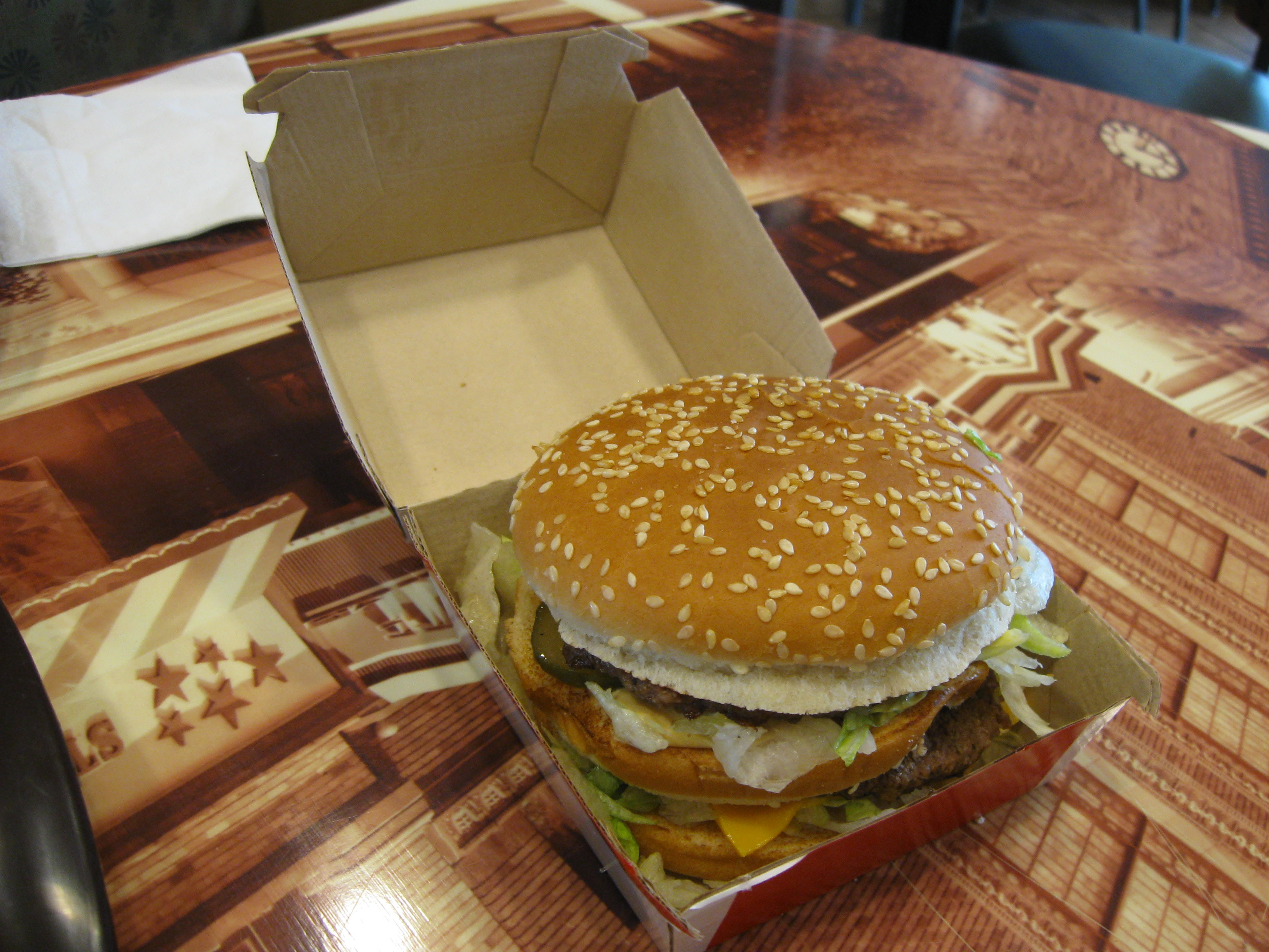 A Big Mac in its box