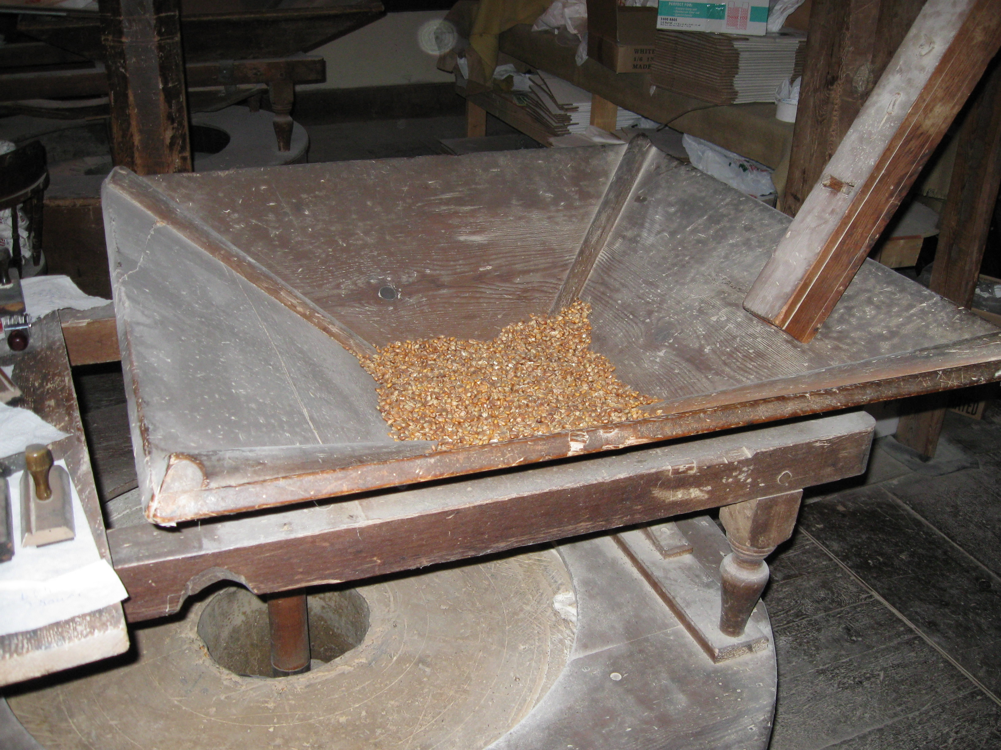 Grain about to the ground at Burnt Cabins Grist Mill