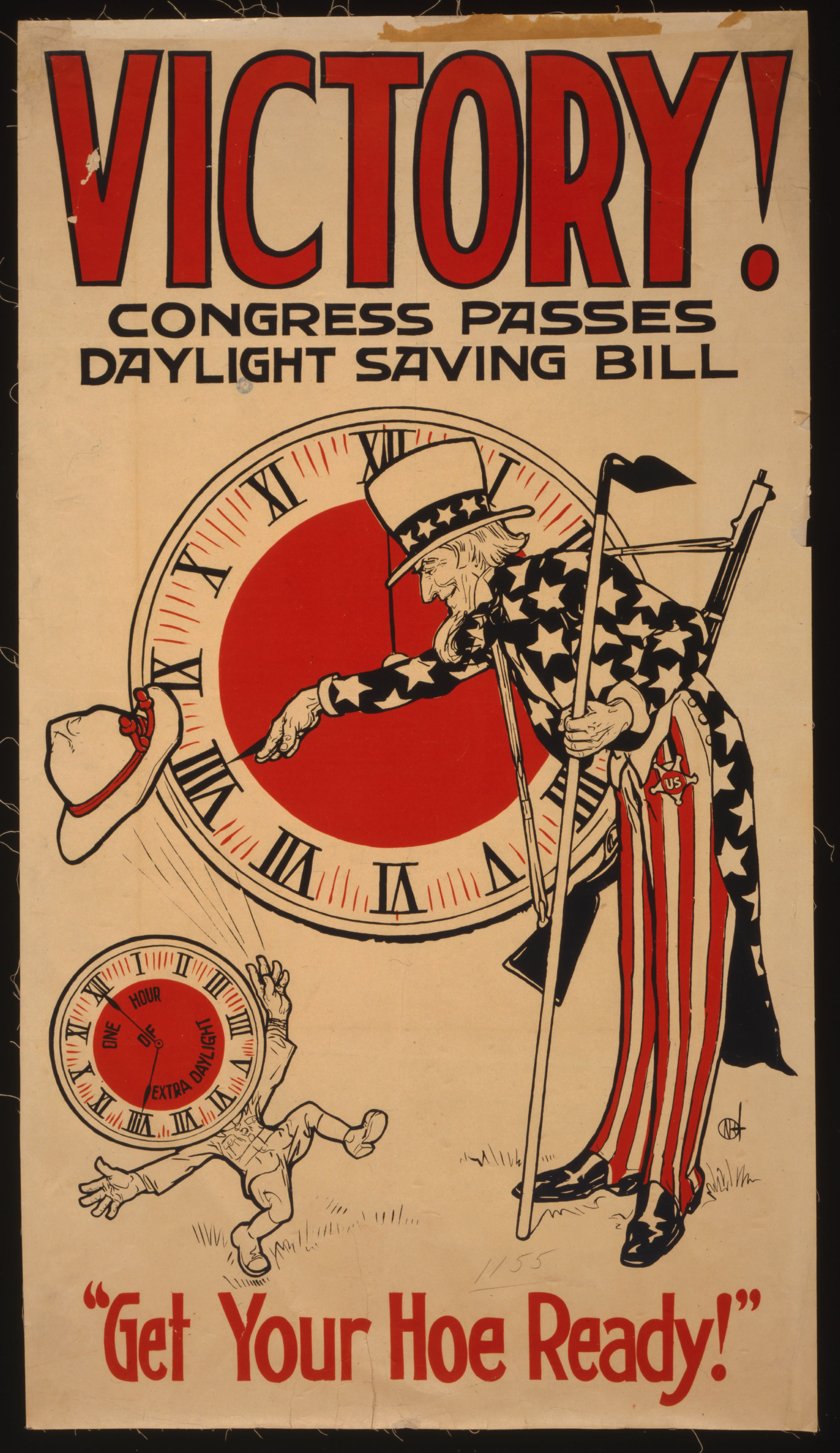 Broadside cheering the passage of the Daylight Saving Time Act in 1918