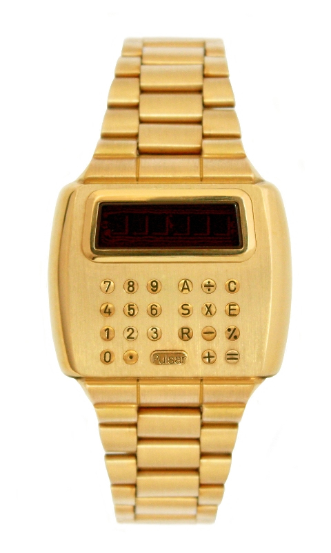 18k gold Pulsar calculator watch
