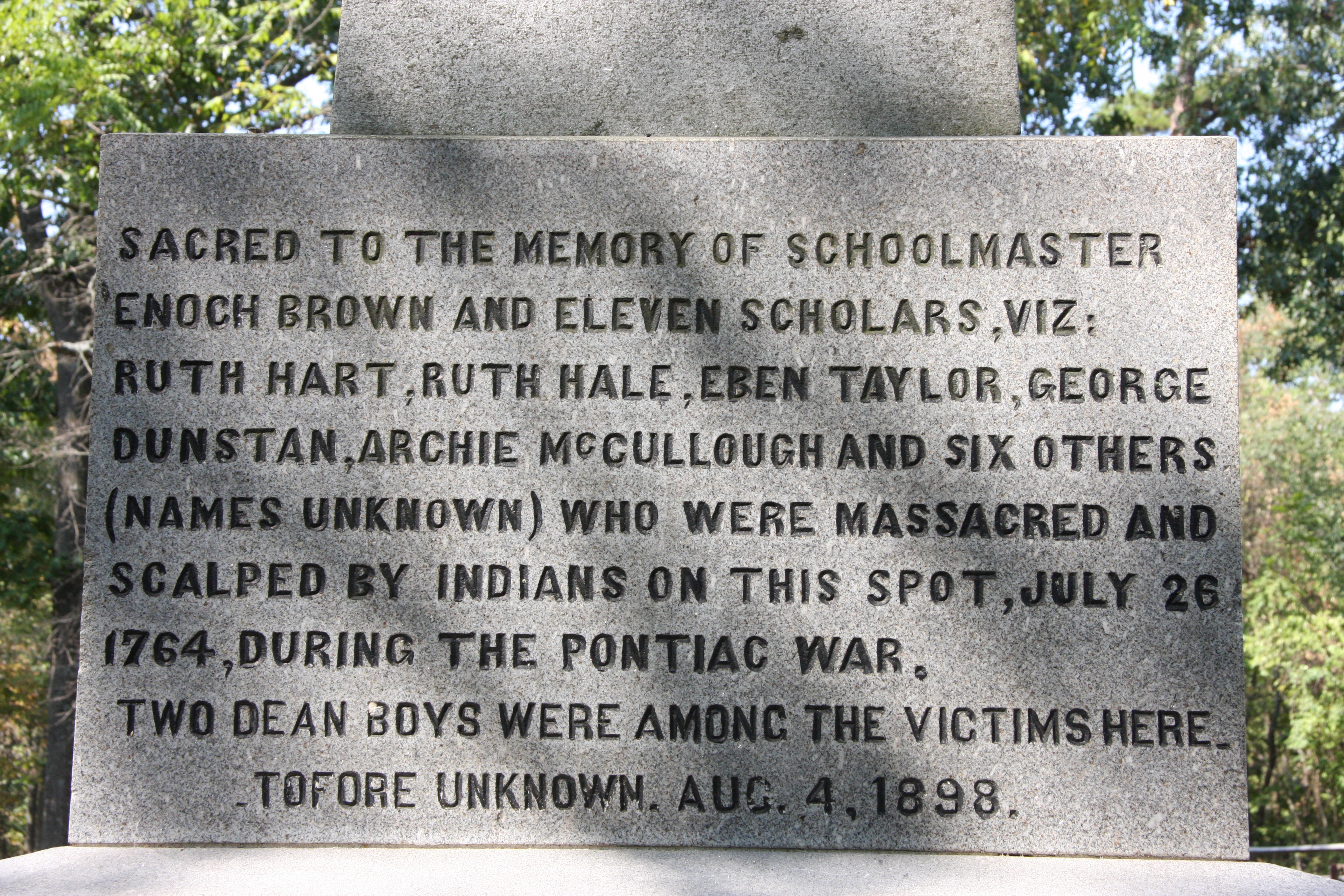 Enoch Brown Monument - East Side Inscription