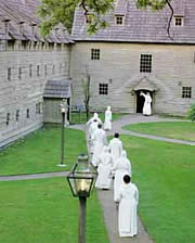 Staff at Ephrata Cloister Marching in their Robes