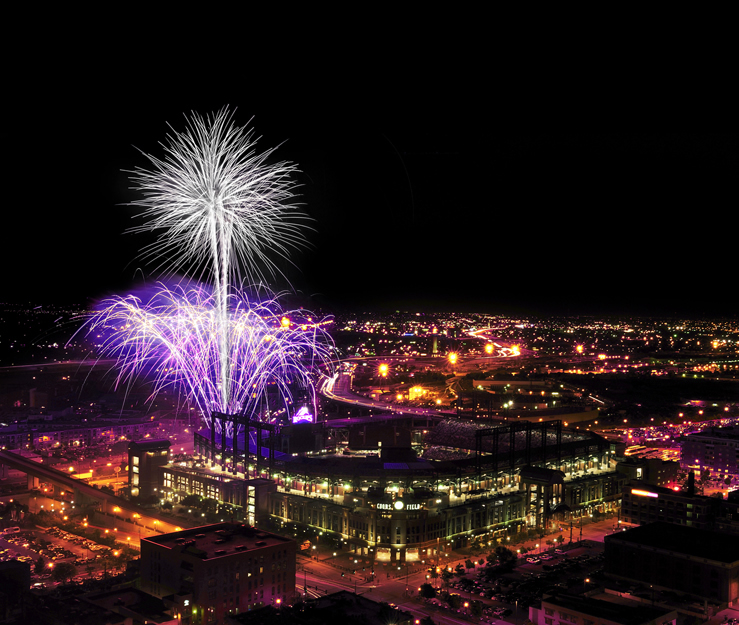 Fireworks over Coors Field in Denver