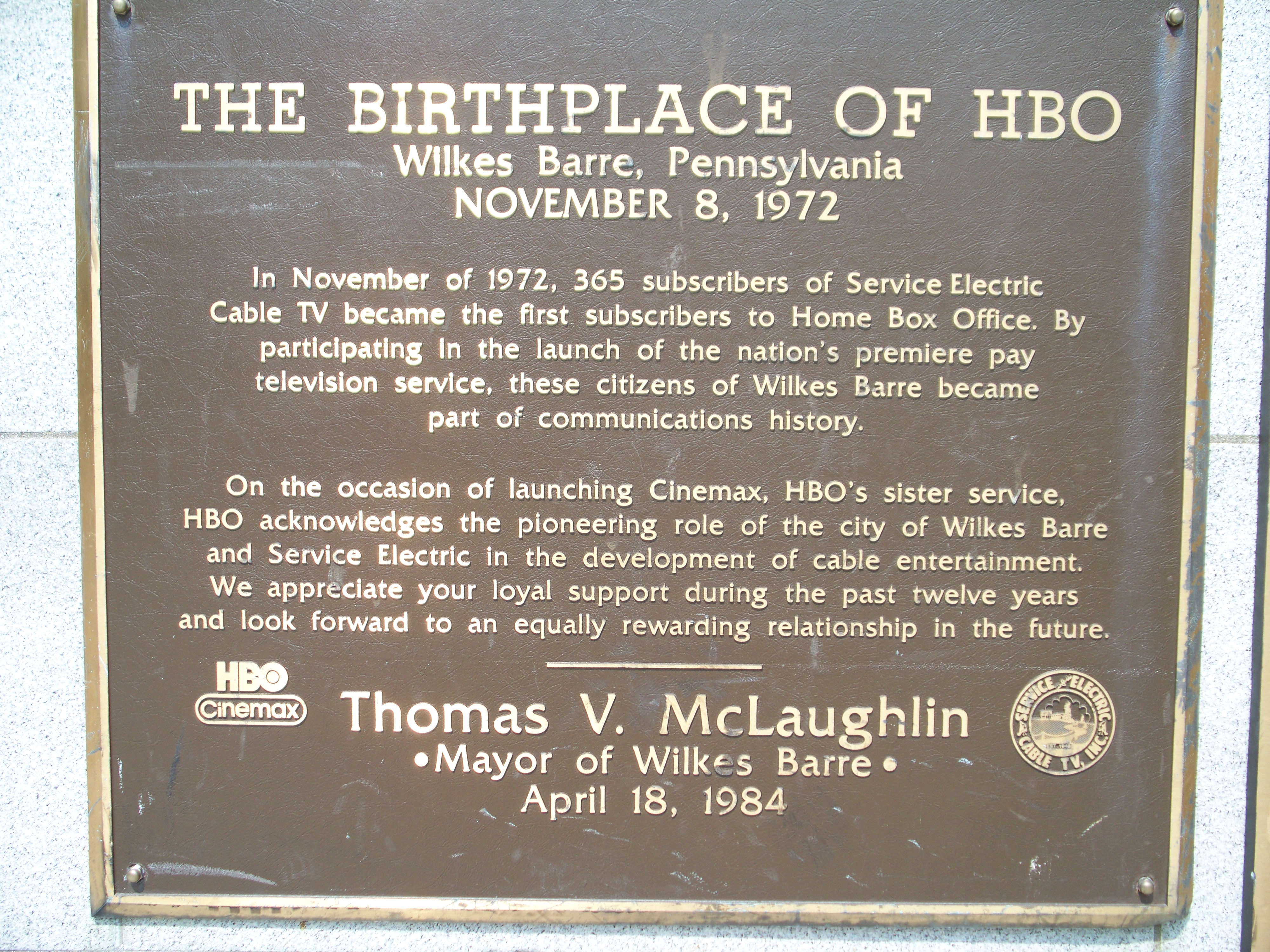 HBO Plaque in Wilkes-Barre