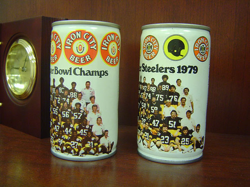 Iron City Cans decorated with Steelers imagery