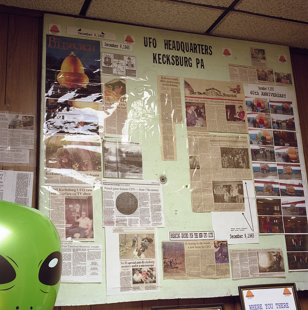 UFO Bulletin Board at the Kecksburg VFD Bar