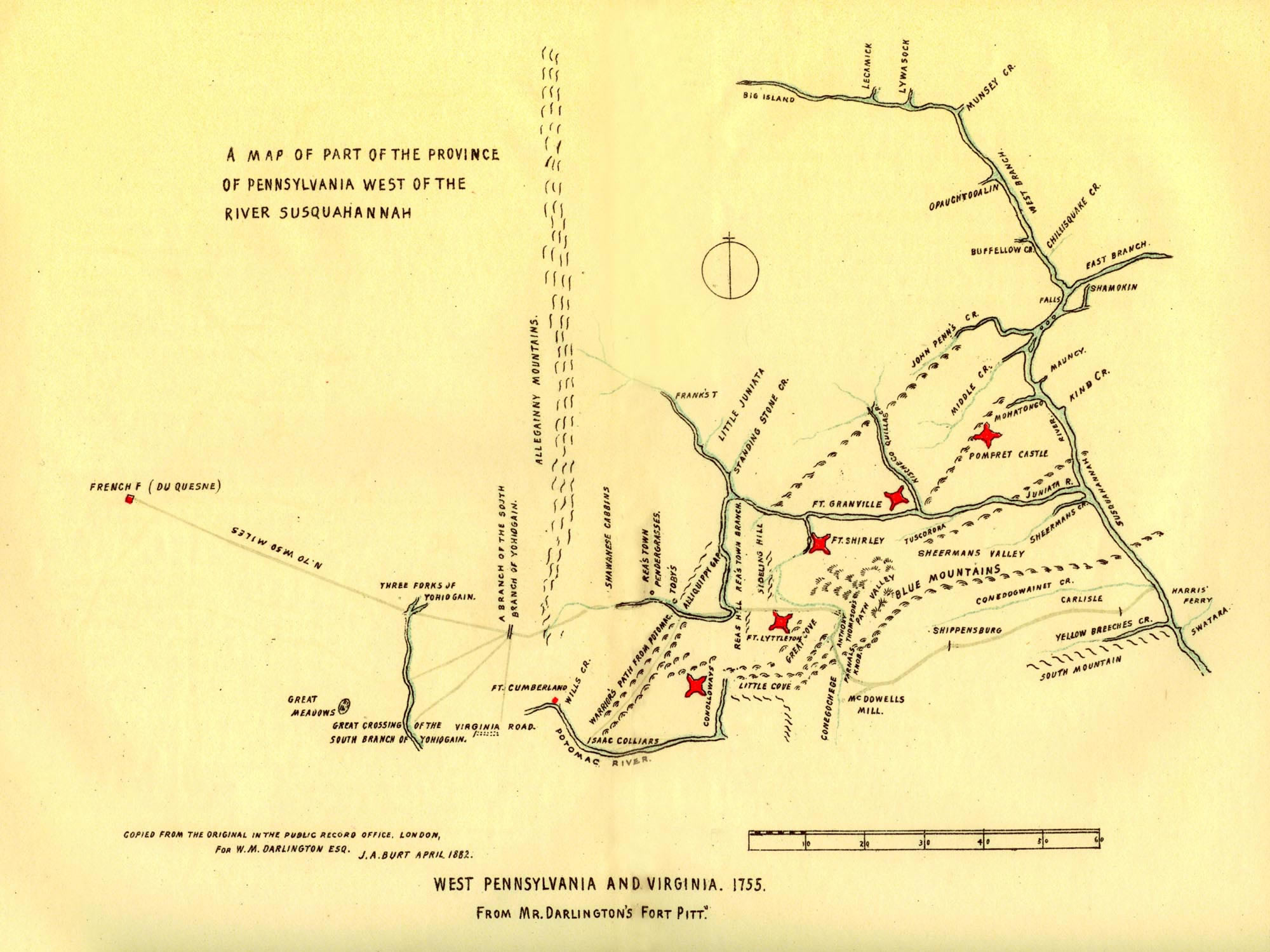 Map of Forts Involved with the Battle of Kittanning