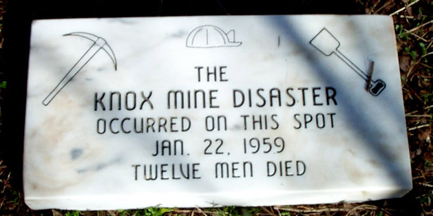 Memorial to the victims of the Knox Mine Disaster