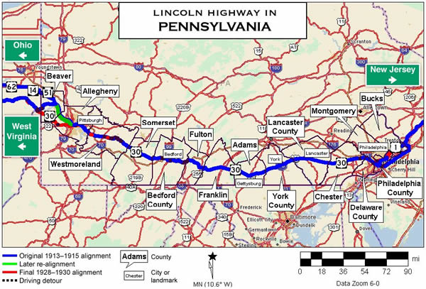 Map of the Lincoln Highway in Pennsylvania