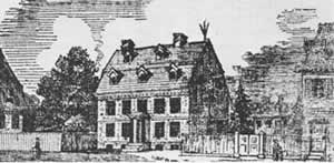 Woodcut of Franklin's House with Lightning Rod