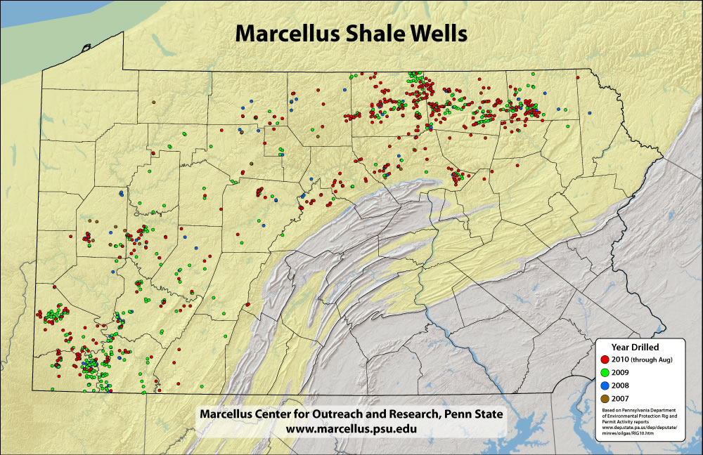 Map of Pennsylvania Depicting numbers of Marcellus Wells Drilled