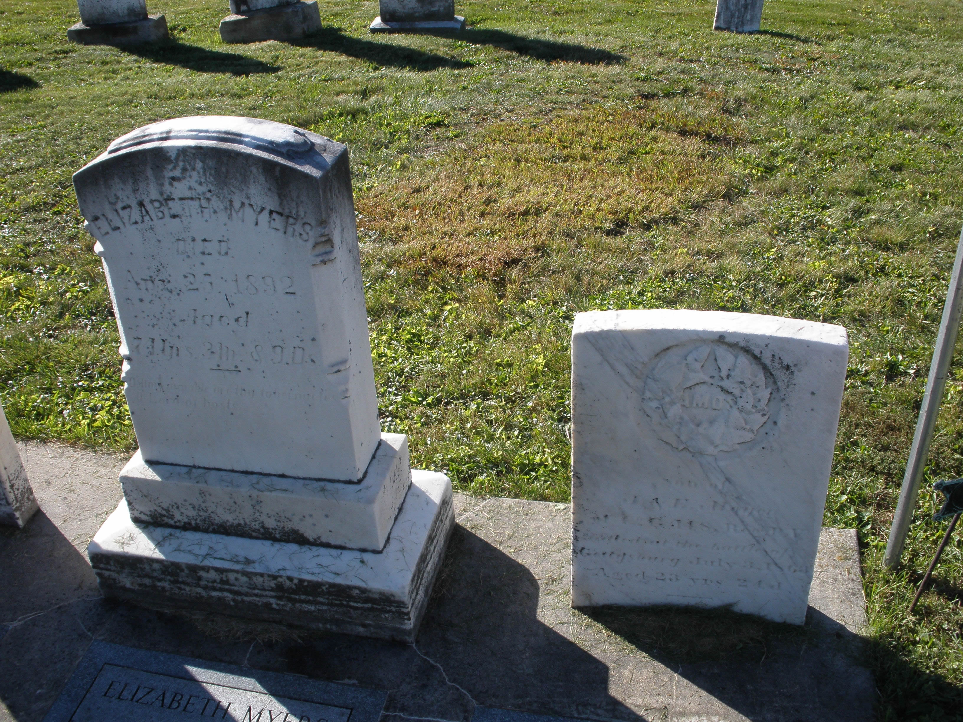 Tombstones of Elizabeth and Amos Meyer