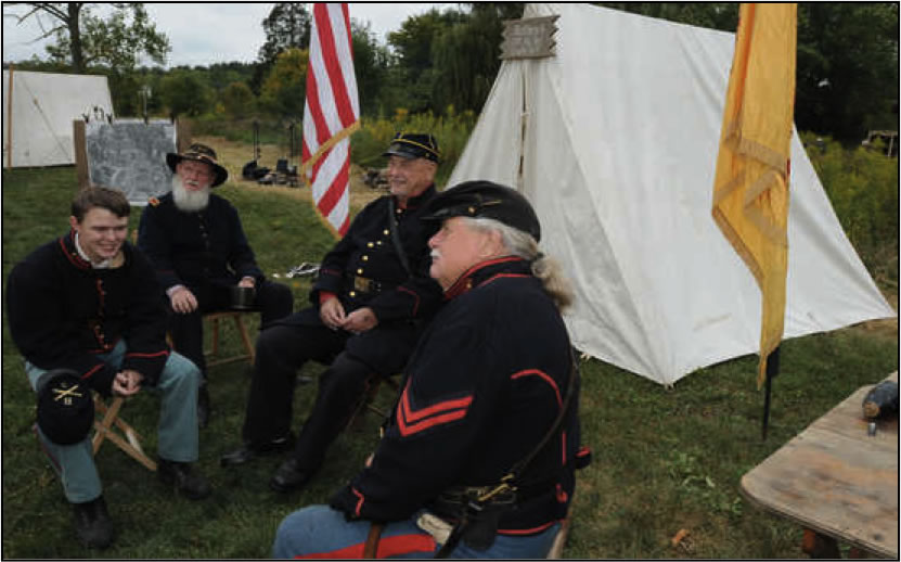 Civil War Re-enactors camp at the Pennsylvania Military Museum