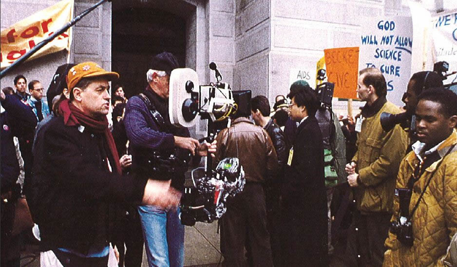 Director Jonathan Demme on the set of Philadelphia