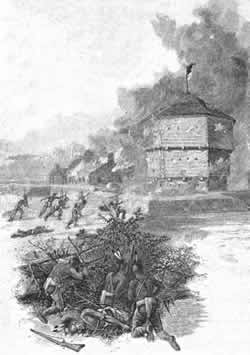 Etching of an attack on Fort Presque Isle by the Iroquois
