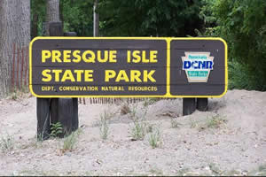 Presque Isle State Park Entrance Sign