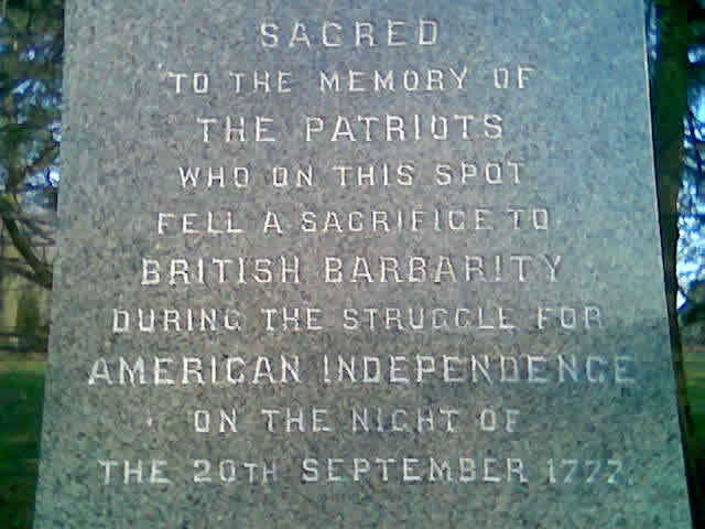 Inscription on a Paoli Battlefield monument