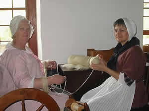 Yarn being wound into skeins