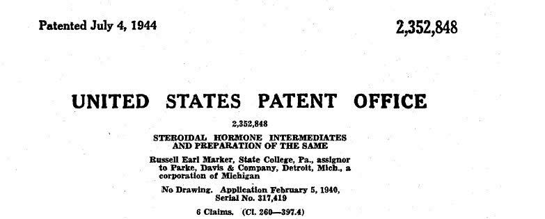 Russell Marker's patent for synthetic progresterone