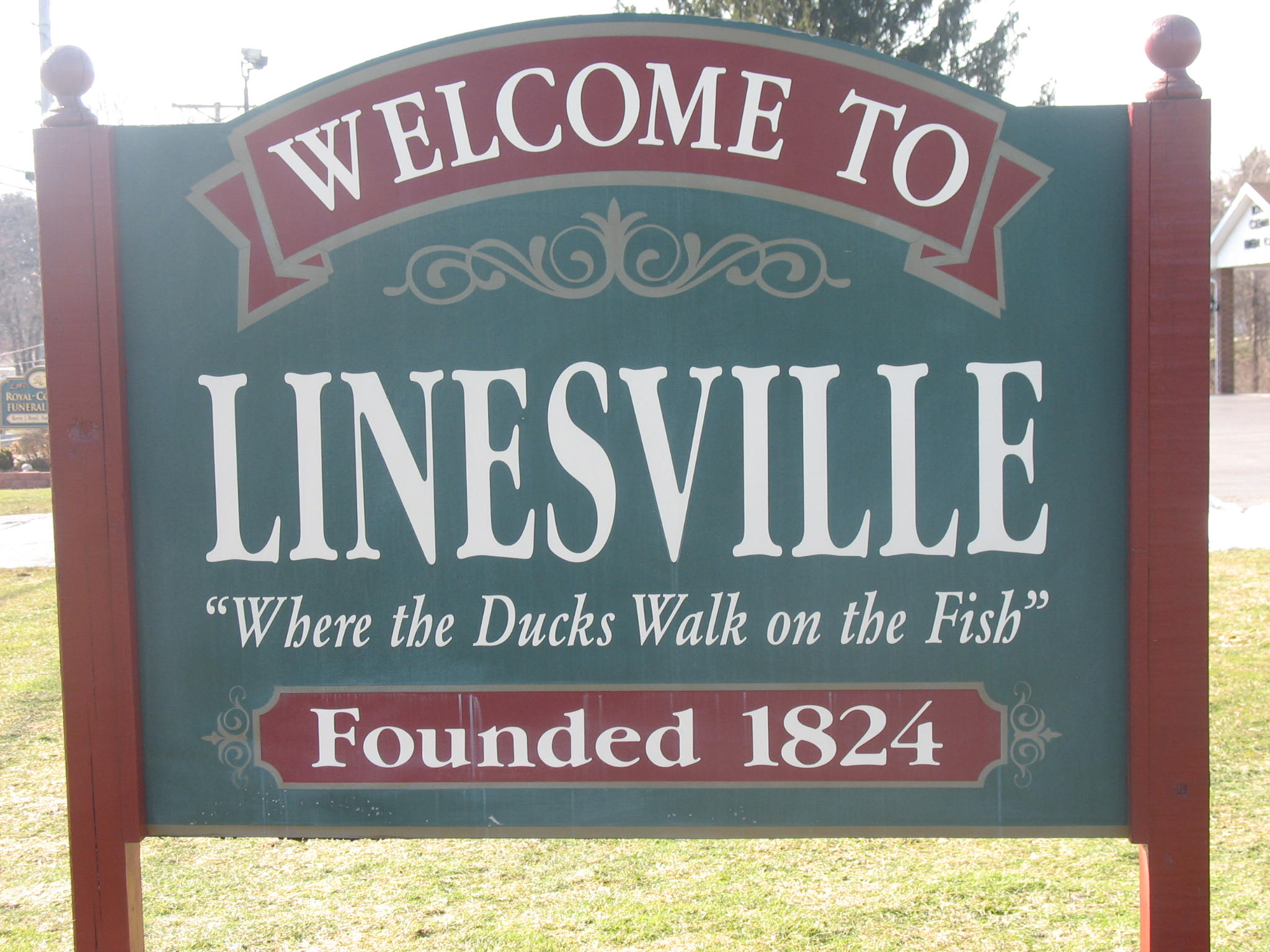 Welcome Sign at Linesville, PA