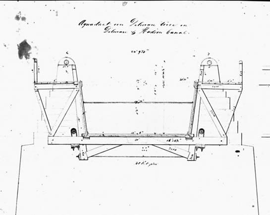Roebling's Drawing of a Cross Section of the aqueduct
