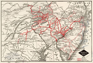 Reading Railroad Route Map