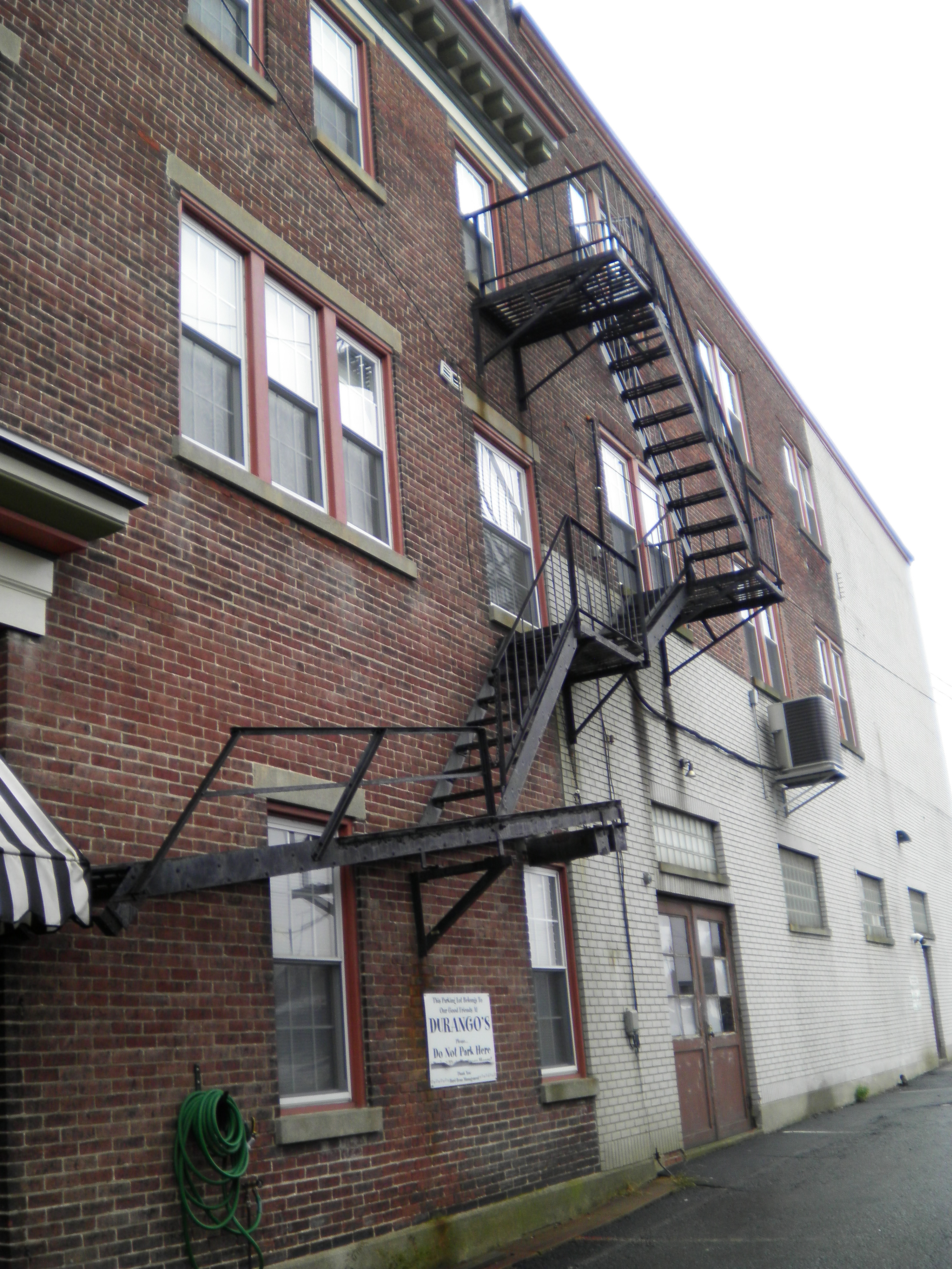 Fire escape on the building where the Rhoads Opera House was