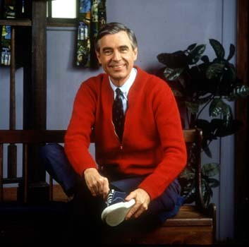 Mister Rogers changes his shoes