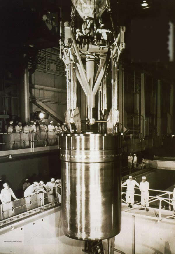 The nuclear reactor core at the  Shippingport Nuclear Plant