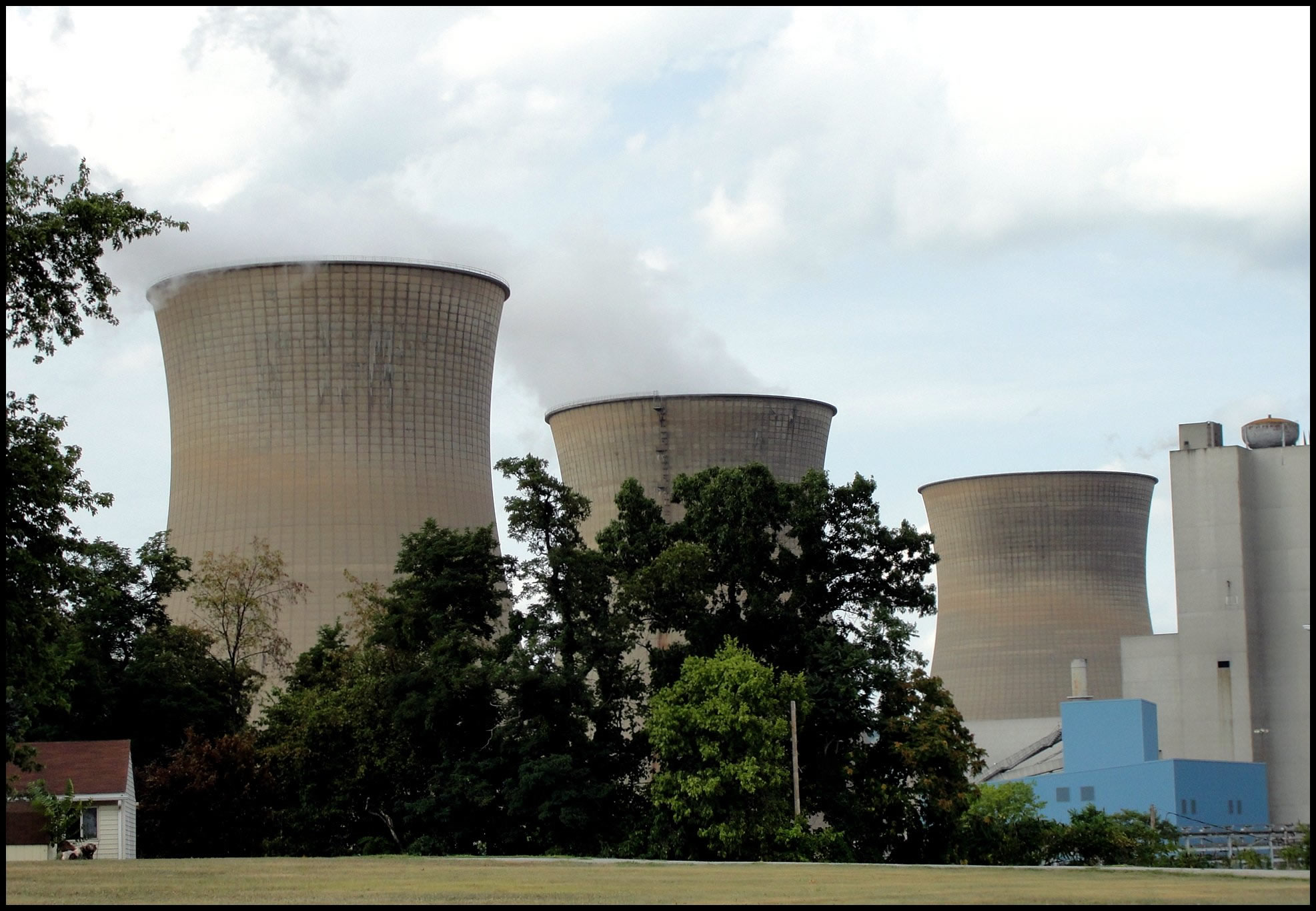 The stacks of the Shippingport Nuclear Plant