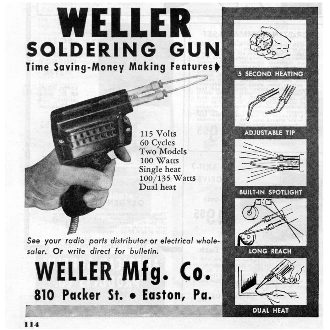 Advertisement for Weller's Soldering Gun