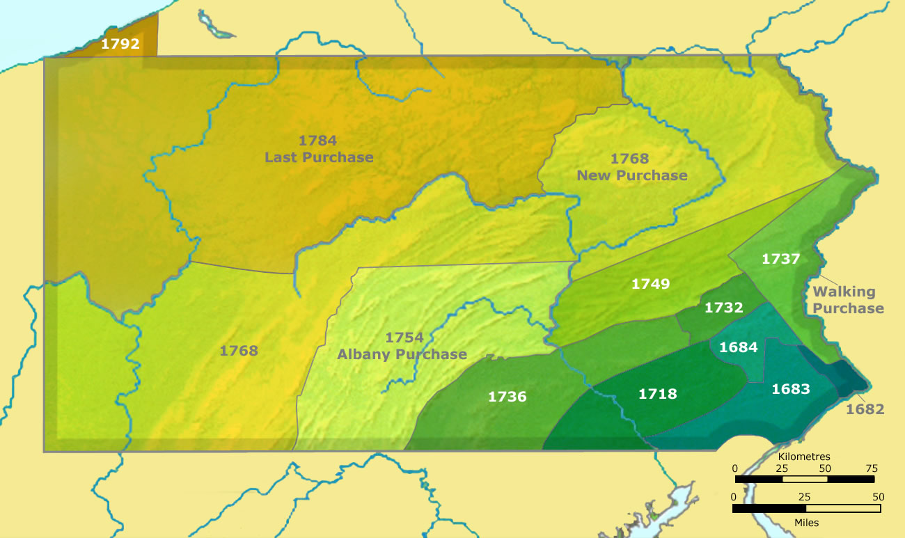 Map of Pennsylvania land purchases