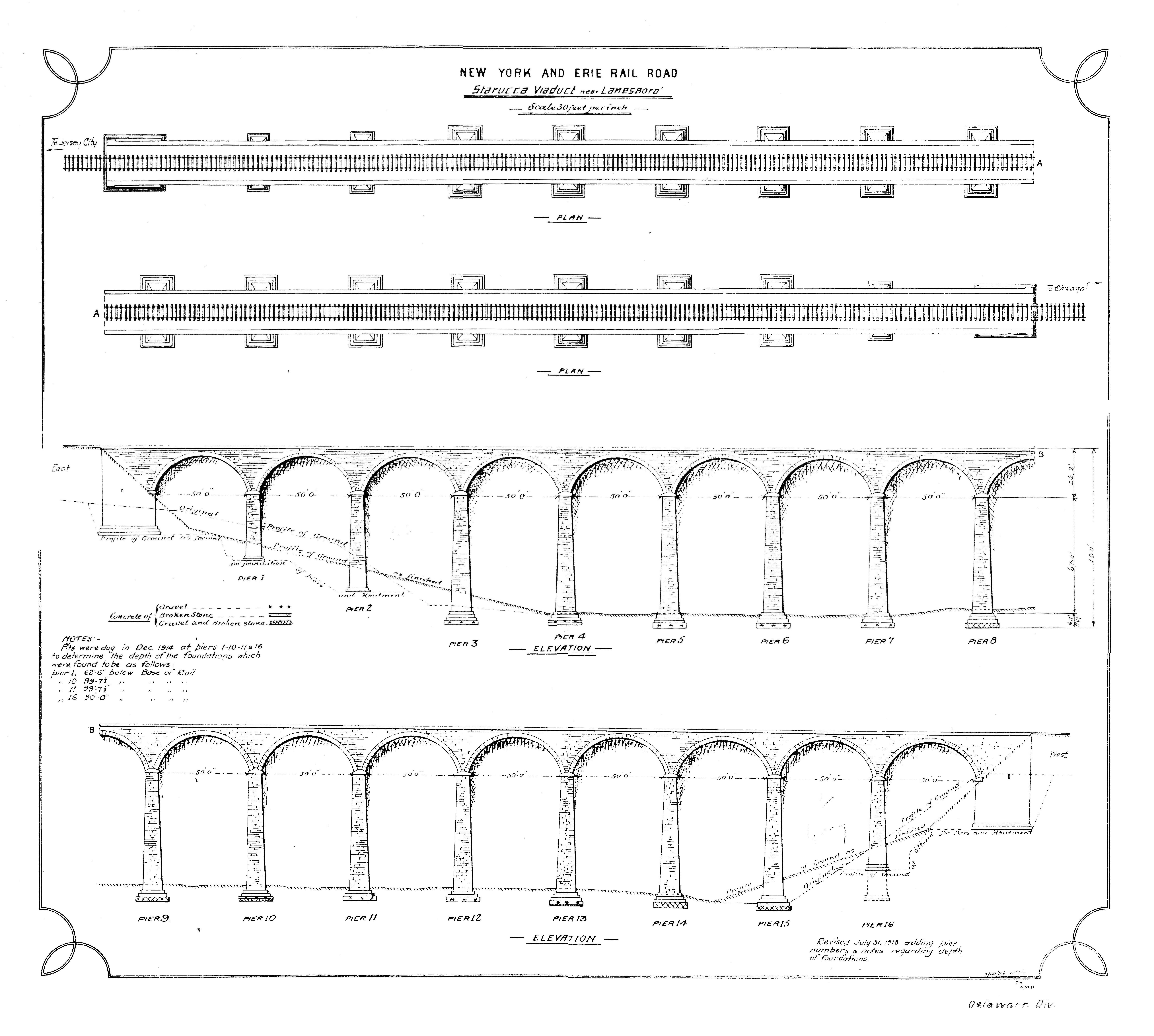 Railroad plans for the Starrucca Viaduct