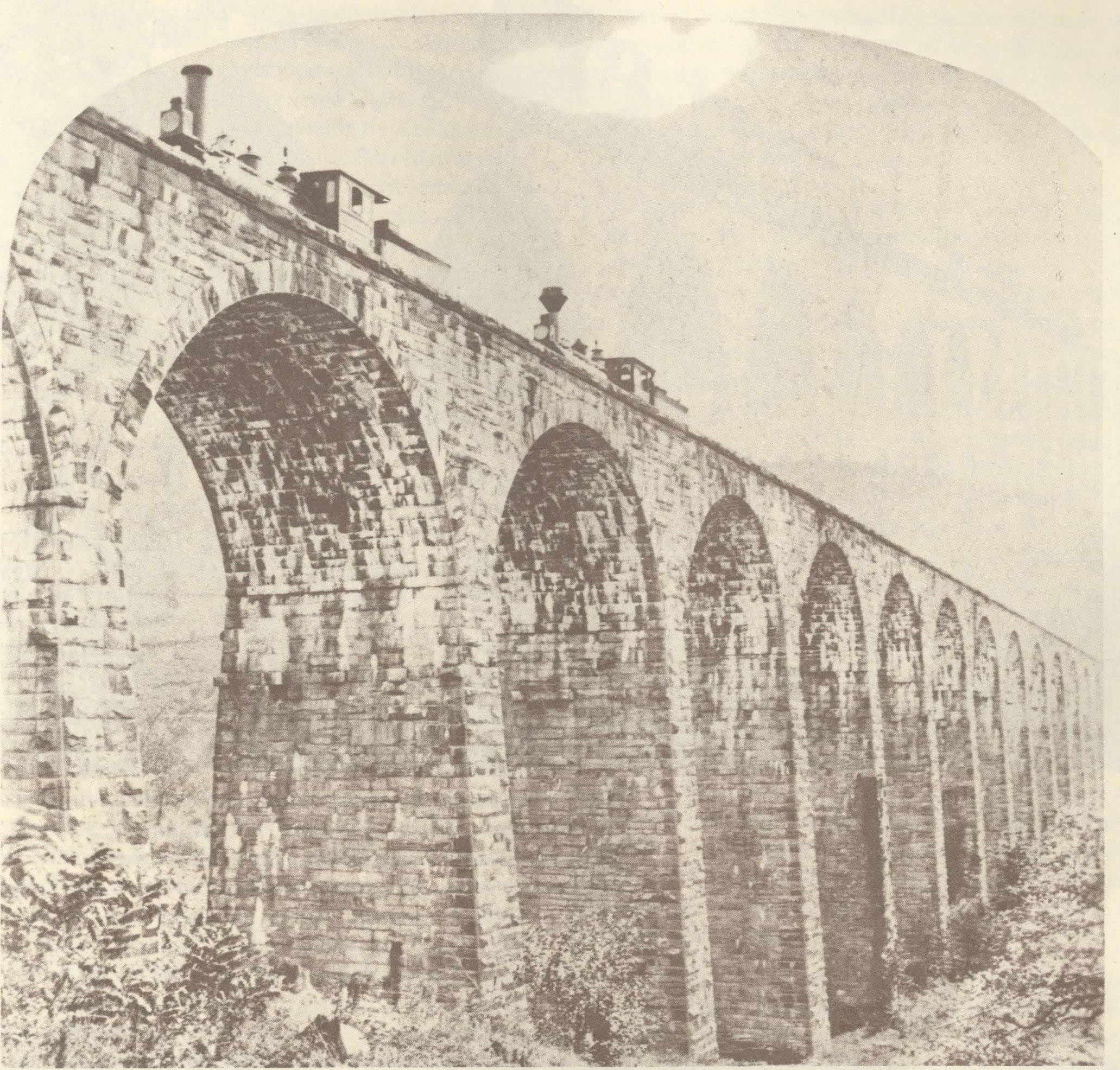 Two trains on the Viaduct