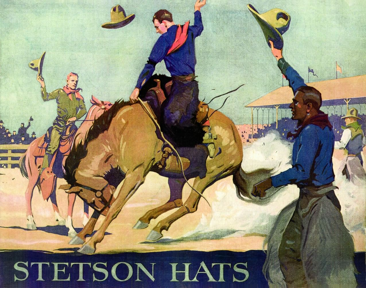 Stetson ad featuring cowboys