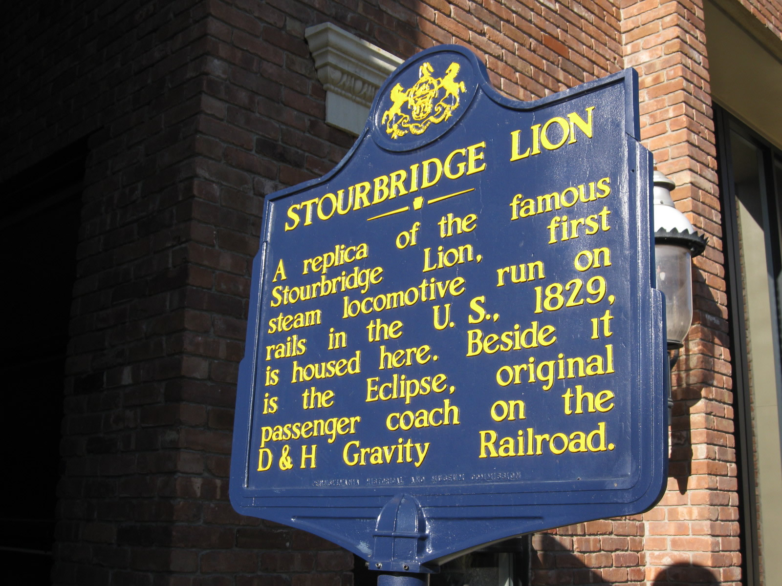 State Historical Marker for the Stourbridge Lion