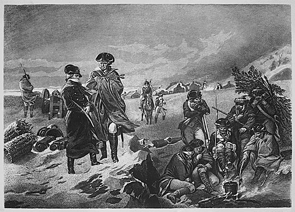 Washington and Lafayette observe suffering troops