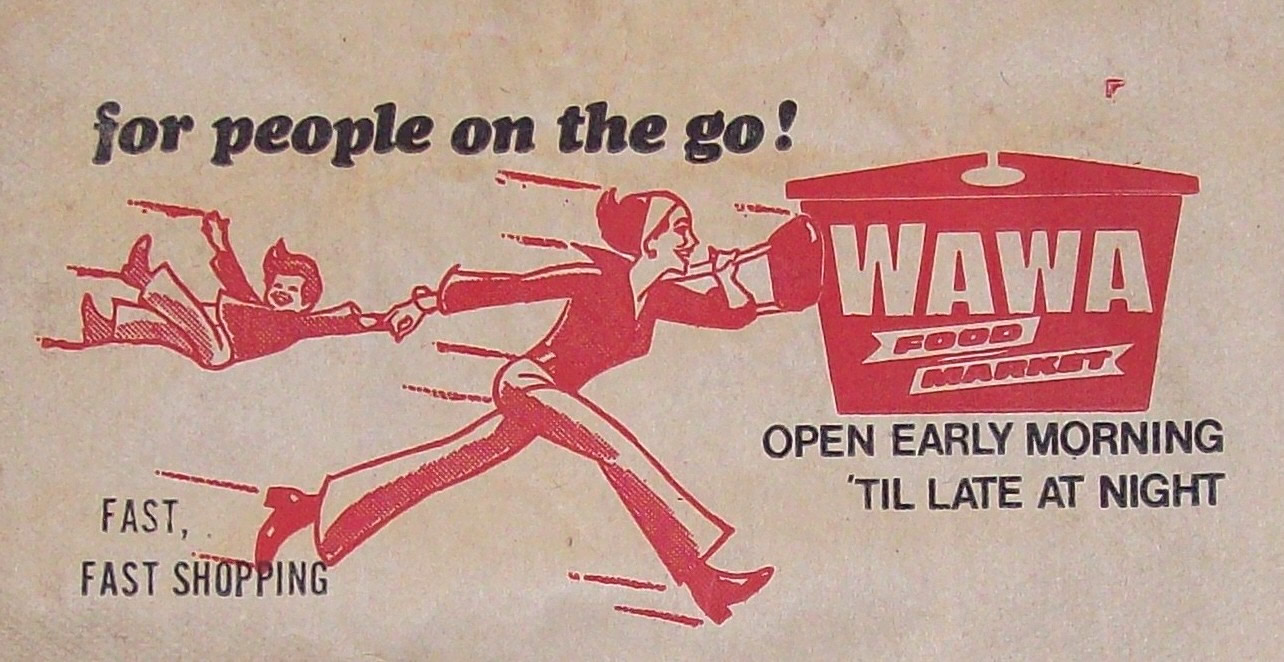 A logo from a Wawa bag in the 1970s