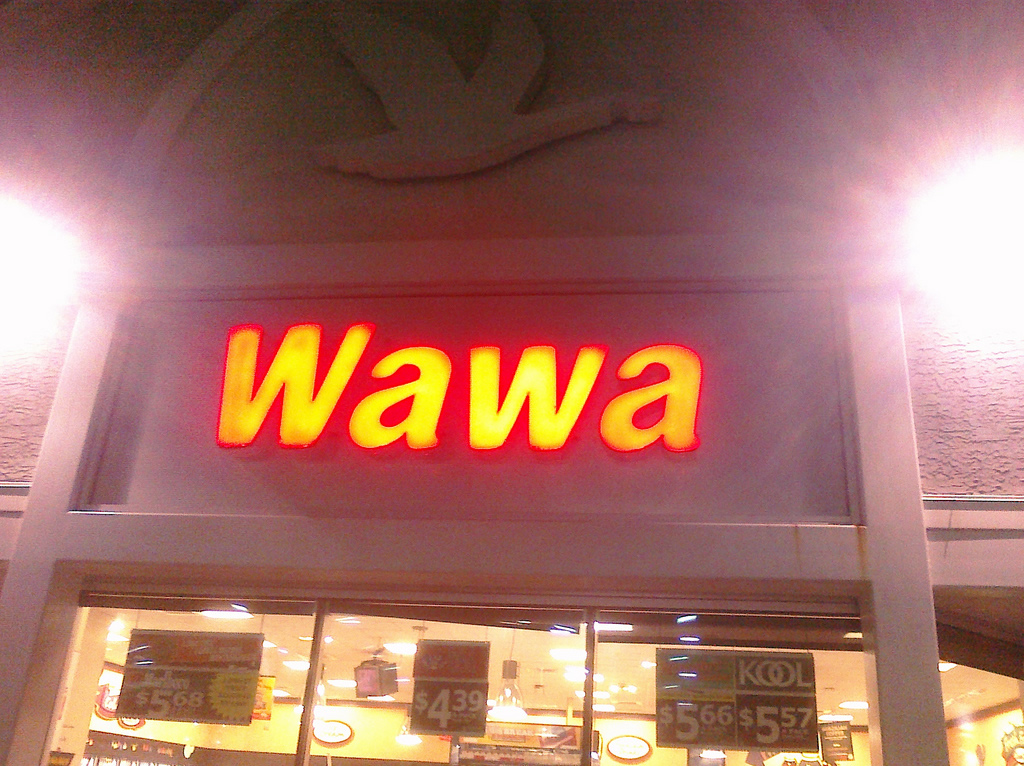 Outside a Wawa store at night