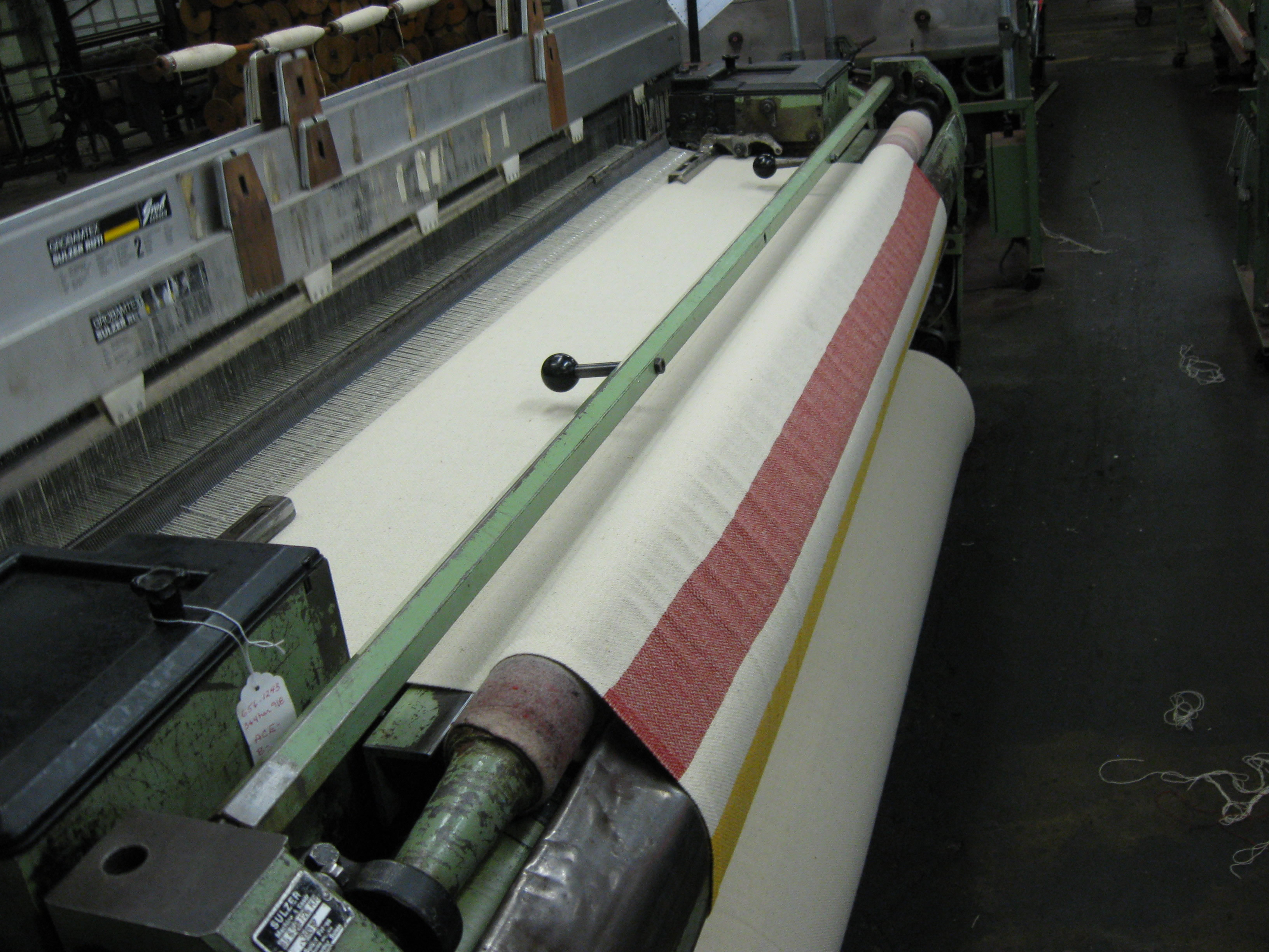 Blanket being woven