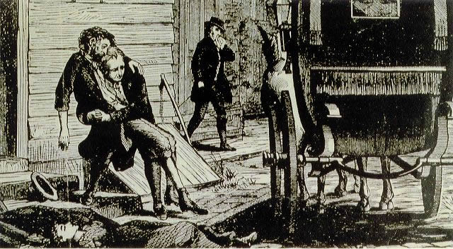 Woodcut of a body being hauled to a carriage