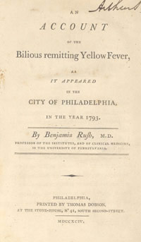 Front Page of Benjamin Rush's Account of the Yellow Fever Epidemic