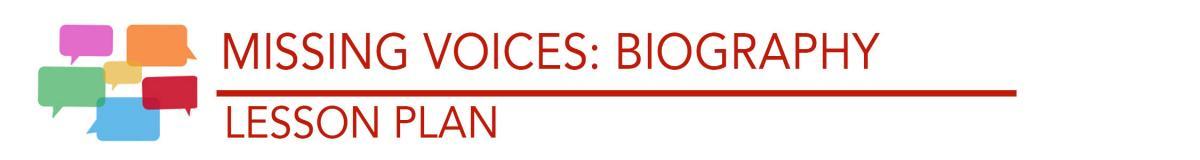 Title: Missing Voices: Biography Lesson plan