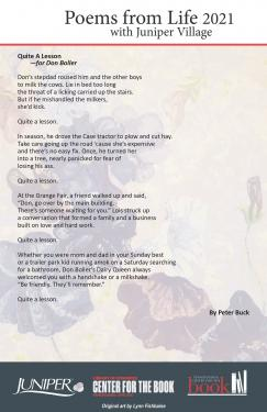 Poem - Quite A Lesson for Don Boller by Peter Buck